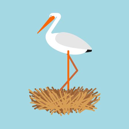 Cigogne au nid isolé. Illustration vectorielle d'oiseau