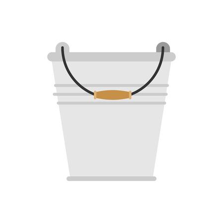 Empty iron bucket household isolated. Vector illustration