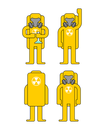 Biohazard protection set. Yellow Suit Chemical protection. Costume Radioactive and biological hazard. Vector illustration