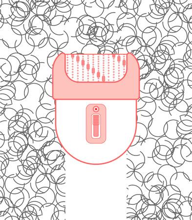 Epilierer und Haare. Epilation der Haare. Körperhygiene. Vektor-Illustration Vektorgrafik