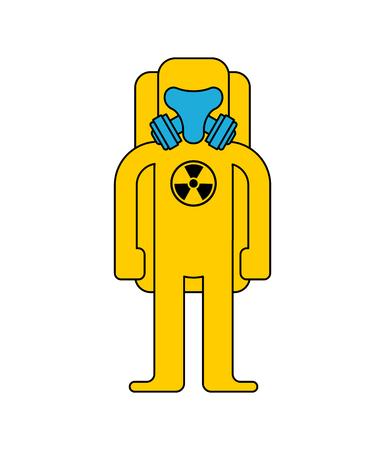 Yellow Suit Chemical Biohazard protection. Costume Radioactive and biological hazard. Vector illustration
