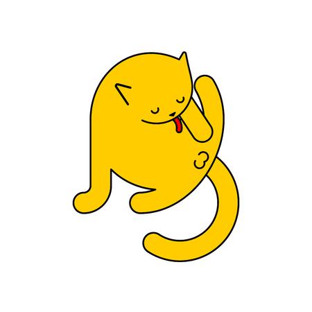 Cat licks itself isolated. Pet Vector illustration Vektoros illusztráció