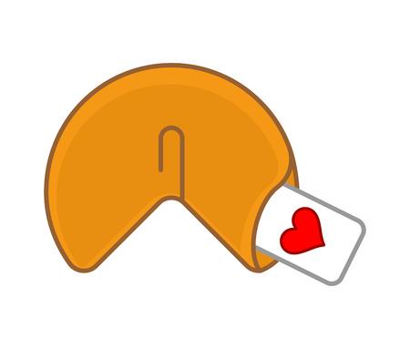 Fortune cookie love isolated. Heart on paper prediction. Vector illustration
