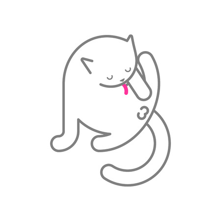 Cat licks itself isolated. Pet Vector illustration Ilustração