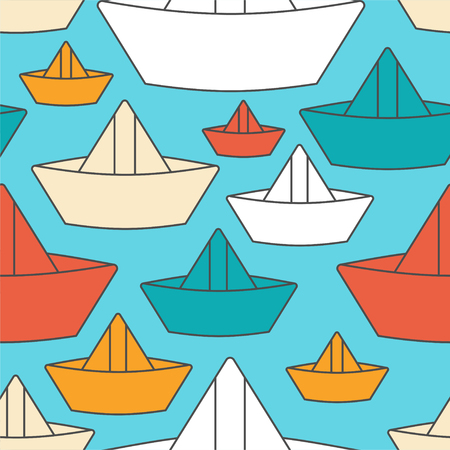 Paper boat pattern seamless. ship made of paper children toy background. Vector ornament Иллюстрация