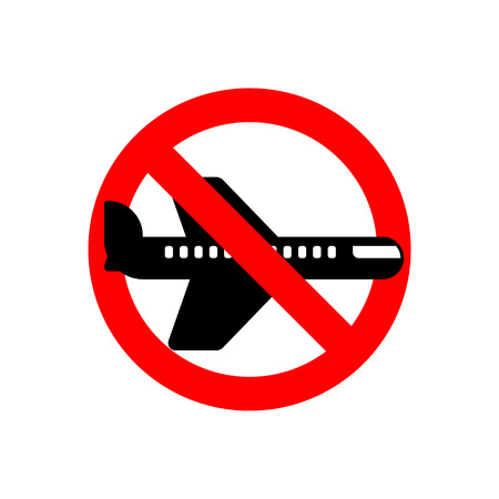 Stop aircraft. It is forbidden to fly by Airliner. Red prohibitory road sign. Ban flying machine. Vector illustration