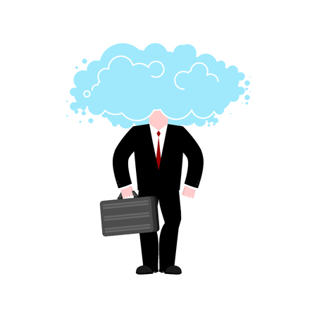 Man cloud head. Businessman weather. Vector illustration