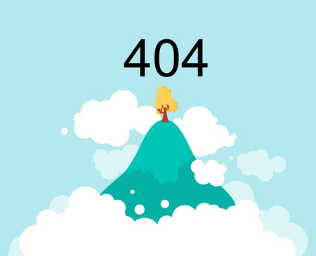 Flying Island in clouds in sky. 404 error. Page not found.  Vector illustration
