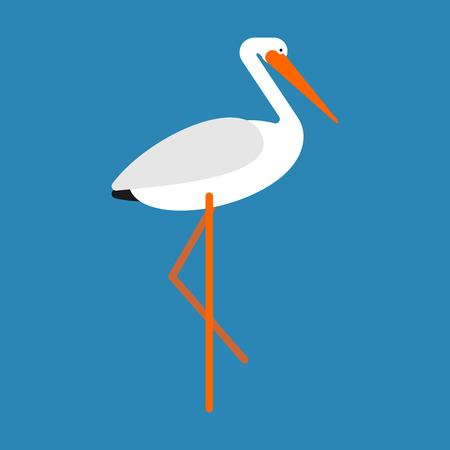 Stork isolated. Bird with long legs. Vector illustration  イラスト・ベクター素材