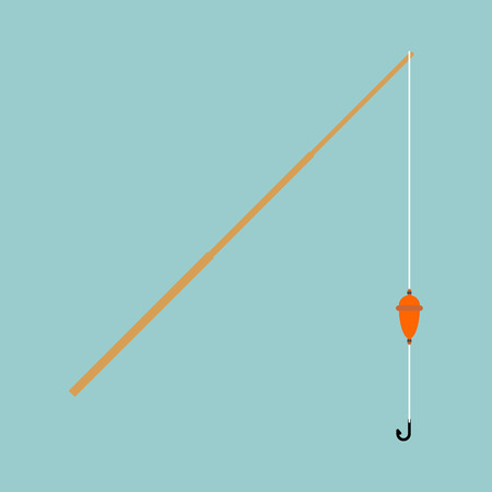Fishing rod isolated. Fisherman accessory. Vector illustration