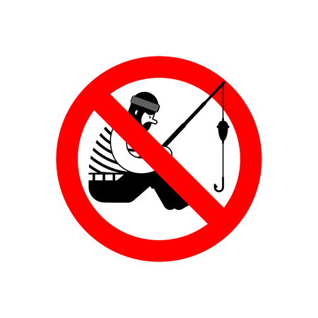 Stop Fisherman. It is forbidden to fish. Red prohibitory road sign. Ban Fishing. Vector illustration  Illustration