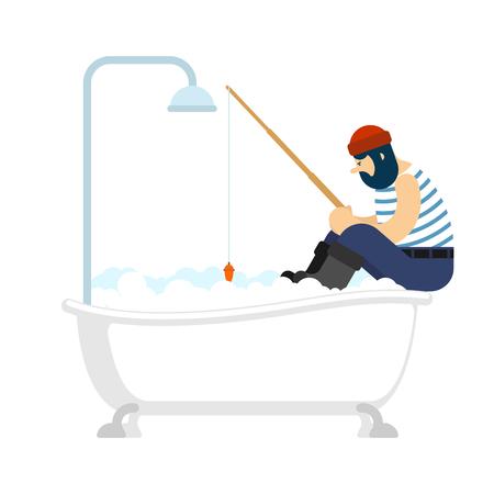 Fisherman fishing in bath . Fishing rod. Vector illustration  Illustration
