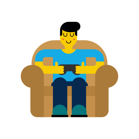Gamer on chair. Guy and video game. Boy and joystick. Cibersport Vector illustration Иллюстрация