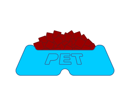 Pet food bowl isolated. Cat and dog plate. Vector illustration