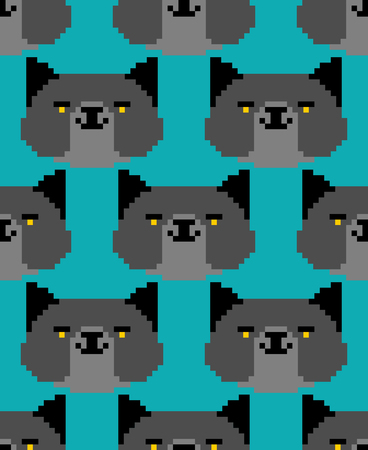 Black cat pixel art pattern seamless. 8 bit Digital home pet background. Vector ornament