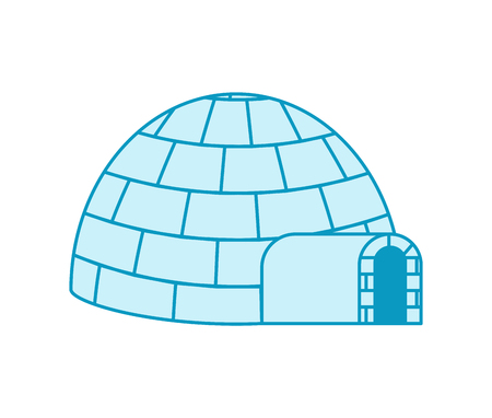 Igloo Eskimos traditional home. House of ice. Vector illustration