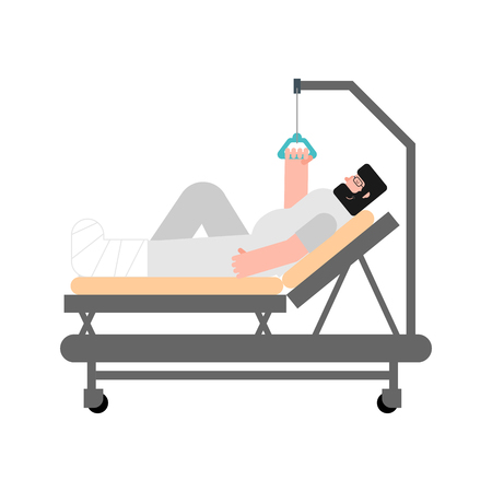 Patient in hospital bed isolated. man fractured his legs sick. Gypsum on leg. Vector illustration
