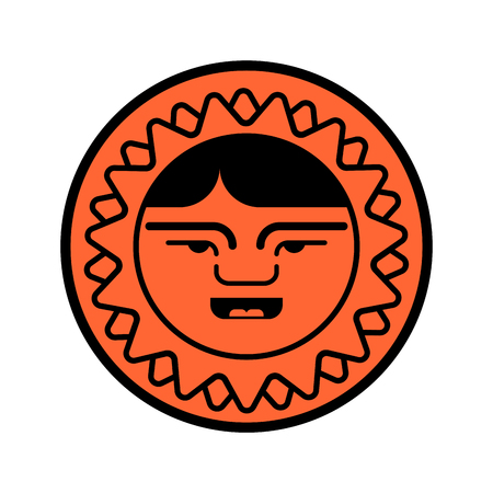 Eskimo face icon. Inuit head sign isolated. arctic traditional  Man of north. Chukchi Vector illustration