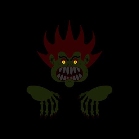 Monster in night isolated. Horror of night. Horrible dream. Vector illustration
