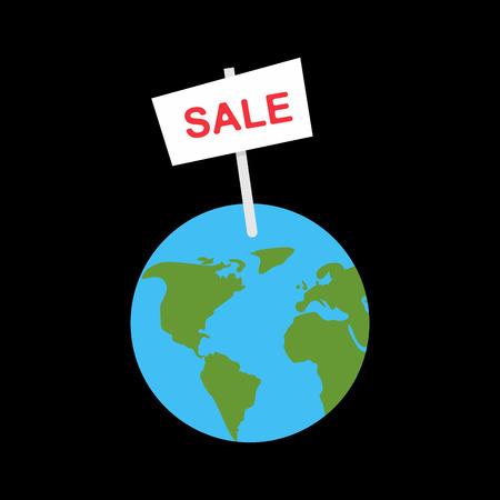 Sale banner earth planet. selling World Vector illustration