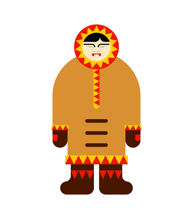 Eskimo inuit isolated. arctic traditional  Man of north. Chukchi Vector illustration Illustration