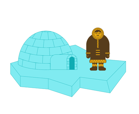 Eskimo and Igloo inuit isolated. arctic traditional  Man of north. Chukchi Vector illustration