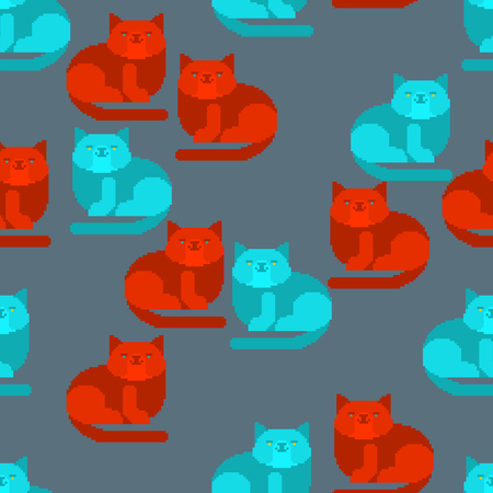 Cat pixel art pattern seamless. 8 bit Digital home pet background. Vector ornament Illustration