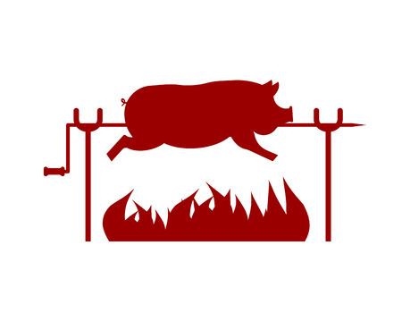 Roasted Pig on spit. Pork on fire. Vector illustration