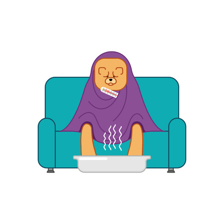 Chow Chow sick sitting in armchair. Dog illness sneezing. Unhappy pet having flu sitting on sofa. Vector illustration