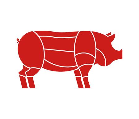 Pig cuts. Pigs Cut of meat set. Scheme of pork. Animal silhouette farm animal.