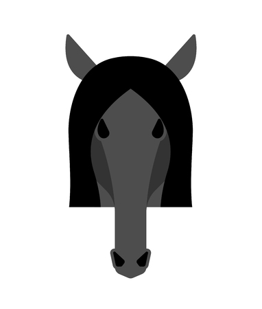 Horse black head isolated. Equine face Vector illustration   イラスト・ベクター素材