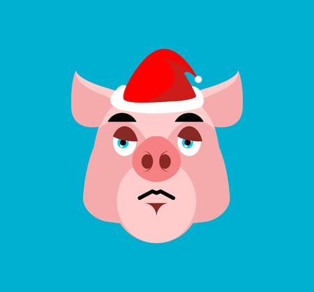 Sad Santa Pig Emoji. sorrowful Piggy. Farm animal. Christmas avatars