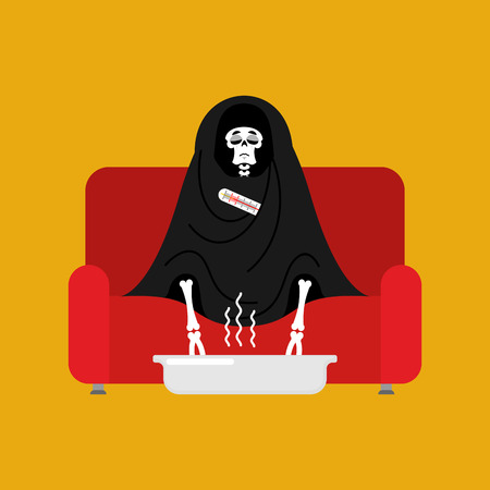 Grim Reaper sick sitting in armchair wrapped in blanket. Death illness sneezing. Unhappy having flu sitting on sofa. vector illustration Vettoriali