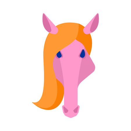Horse pink head isolated. Equine face Vector illustration