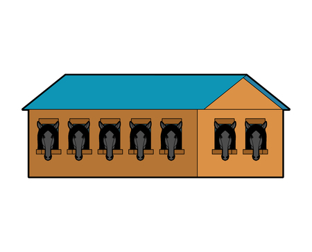 Stable isolated. stabling Horse Wooden House. Vector illustration Illustration