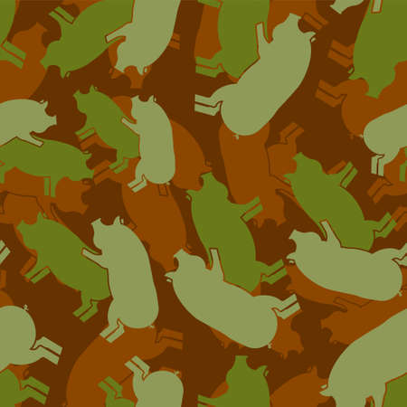 Pig sex army pattern eamless. Piggy intercourse military background. soldiery Pigs ornament. Farm Animal reproduction. Vector war texture 矢量图像