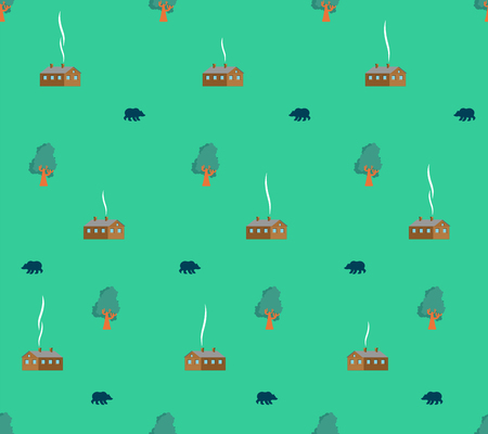 Village pattern seamless. Shed in woods. forest Grizzly bear background. Wooden house and trees. Vector ornament Illustration