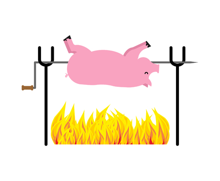Roasted Pig on spit. Pork on fire. Vector illustration Vectores