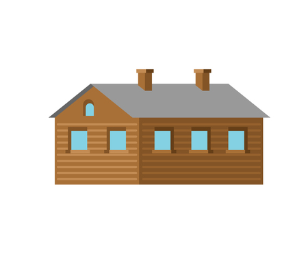 Wooden hut isolated. Village House vector illustration Stock Illustratie