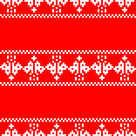 Pixel embroidery Christmas pattern seamless. New Year Vector Background Illustration