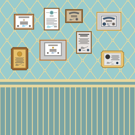 Certificate on wall. Diploma and Reward room template. Vector illustration