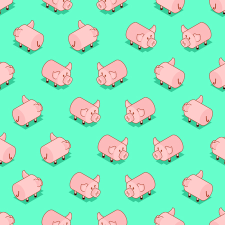 Pig pattern seamless. Pigs background. Farm animal ornament. Vector illustration