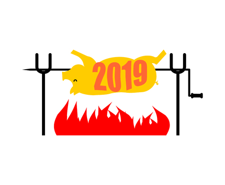 2019 New Year Symbol Pig on spit. Pork on fire. Pigs year in Chinese calendar