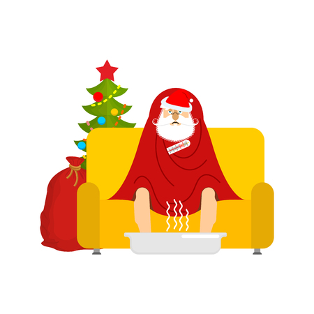 Santa sick sitting in armchair wrapped in blanket. Claus illness sneezing. Unhappy Grandfather having flu sitting on sofa. vector illustration