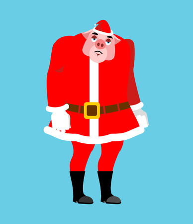 Sad Santa Pig Emoji. sorrowful Santa. Piggy Christmas avatars