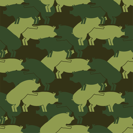 Pig sex army pattern eamless. Piggy intercourse military background. soldiery Pigs ornament. Farm Animal reproduction. Vector war texture Иллюстрация