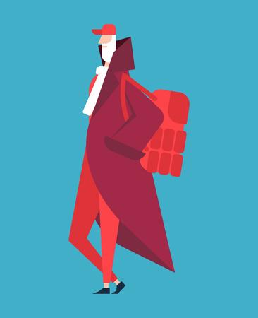 Santa Claus fashion. Fashionable New Year grandfather. Modern christmas costume. Stylish clothes. Trendy Hipster. Modish Man