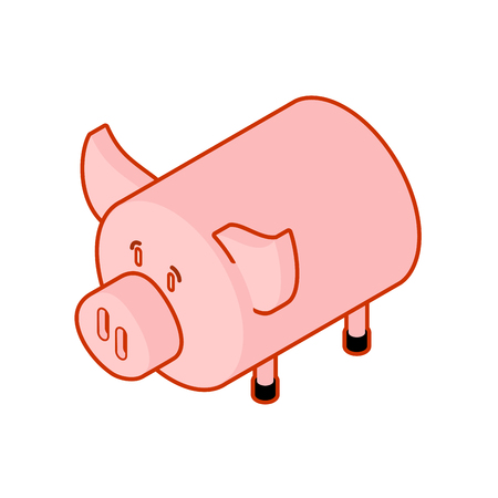 Pig isometric style. Piggy isometry Farm animal. Vector illustration