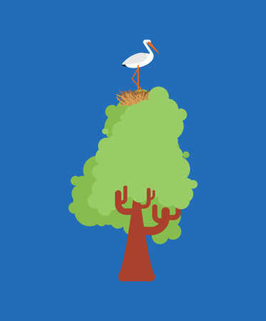 Stork in nest on tree. Vector illustration Bird Illustration