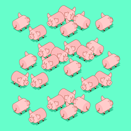 Herd pigs. Pig Farm animal. Vector illustration